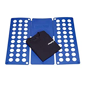 Relaxdays Faltbrett 2. Generation, Wäschefalter XXL, T-Shirt Falthilfe, Wäschefaltbrett für Erwachsene, 60x70cm, blau