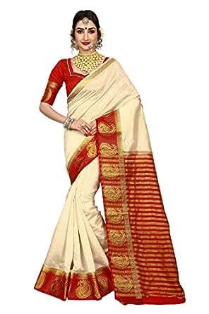 Vatsla Enterprise Women's Traditional Art Silk Kanjivaram Style Bridal Red and White Saree With Banarasi Plain Unstitched Blouse Piece (VATDSNNO1_RED_WHITE_Colour)