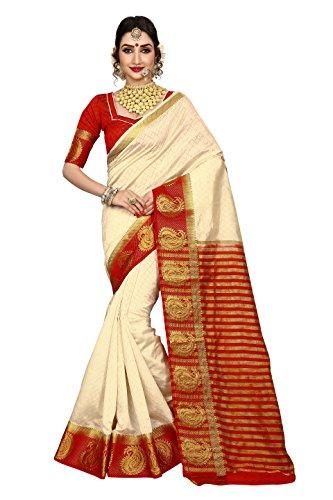 Vatsla Enterprise Women's Traditional Art Silk Kanjivaram Style Bridal Red and White...