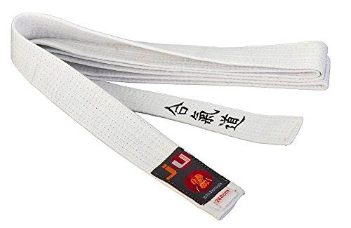 Budogürtel weiß mit Bestickung Aikido (japanisches Kanji)