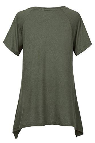 Urban GoCo Damen Kurz Ärmel Basic Lose T-Shirt Armeegrün