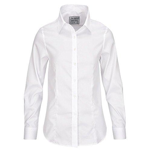ALLBOW Neat Weiße Bluse mit Ellenbogen-Patches, Elegante Damen-Bluse mit Flicken Rosa/Blau/Weiß