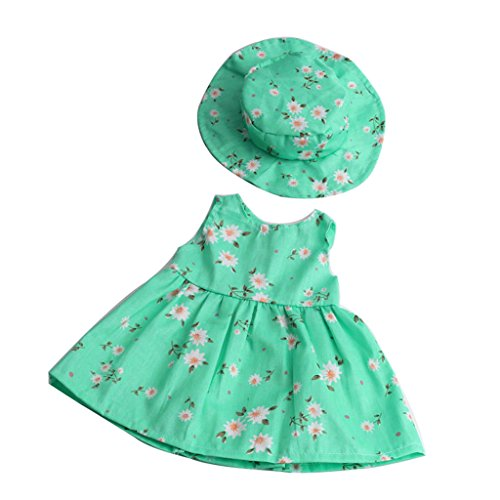 Sharplace Schöne Puppen geblümtes Kleid mit Hut Kleidung Set für 18 Zoll Mädchen Puppen - Grün (Geblümtes Kleid Kleidung Puppe)