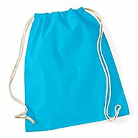 Westford Mill Cotton Gymsac Bag - 12 Litres (One Size) (Surf Blue)