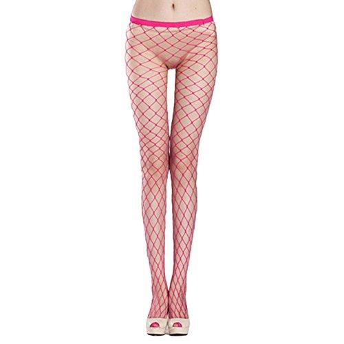 Bluelans® Netzstrumpfhose overknee strümpfe Damen Frauen elastische Spitze Oberschenkel Strumpf Strumpfhosen (#4 - rosa) (Netzstrumpfhose Rosa)