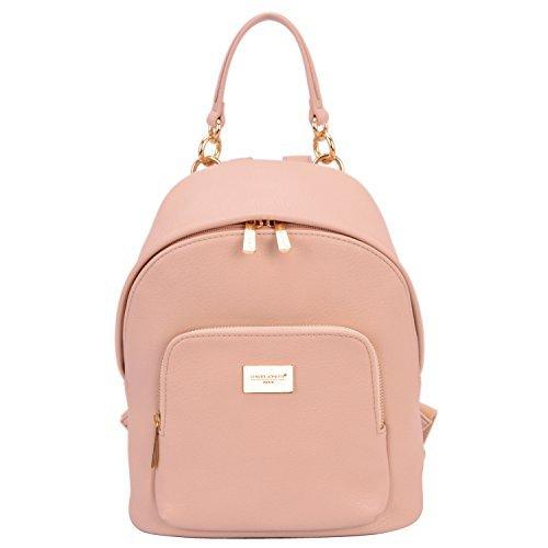 David Jones - Damen Rucksack Daypack Echtes Leder Stil Schulrucksack - Frauen Mittelgroße Schultasche Schulranzen - Mädchen Schultertasche Kleine Handtasche - Fashion Backpack Satchel - Pink Rosa