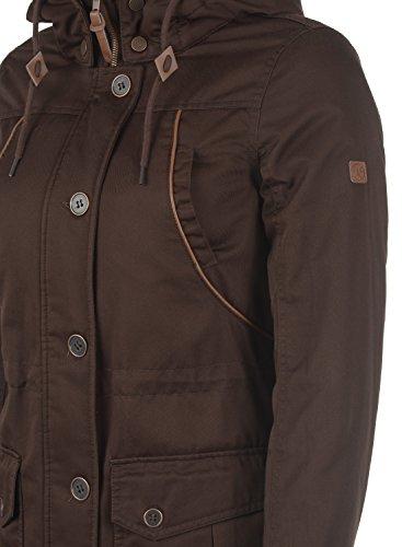 DESIRES Annabelle Damen Übergangsparka Parka Übergangsjacke Lange Jacke mit Kapuze, Größe:XS, Farbe:Coffee Bean (5973) - 5