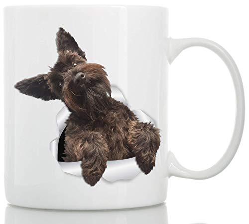 Süße braune Schnauzer Tasse - Keramik Schnauzer Kaffeetasse - Perfekte Schnauzer Geschenke - Lustige süße Schnauzer Hund Tasse für Hundeliebhaber und Besitzer 11oz weiß