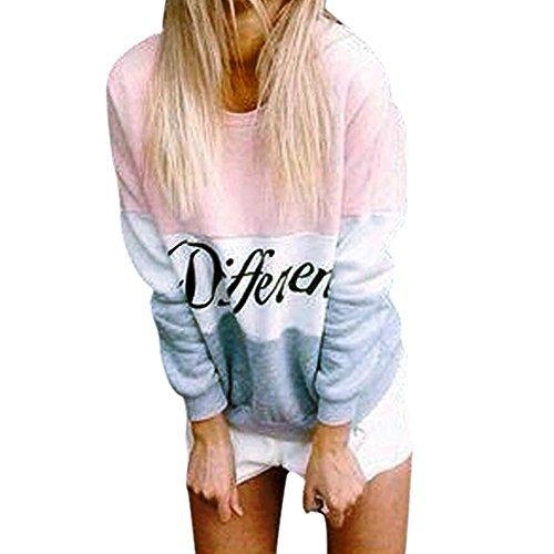 West See Damen Rundhals Hoodie Lässige Druck Mantel Tops Pullover Langarm Sweatshirt (DE 40(Herstellergrößer XXL), Pink)