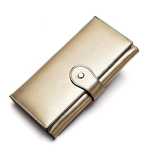 Leder Lange Tasche Gold 9,5 cm * 19,2 cm * 2,5 cmRobustes doppeltes Falten - Visitenkartenhalter - Münztasche - Box usw. für mehrere Zwecke -