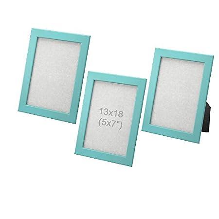 Fiskbo Ikea Bilderrahmen, aus Holz, zum Aufhängen, Aufstellen, 13 x 18 cm, Blau, 3 Stück