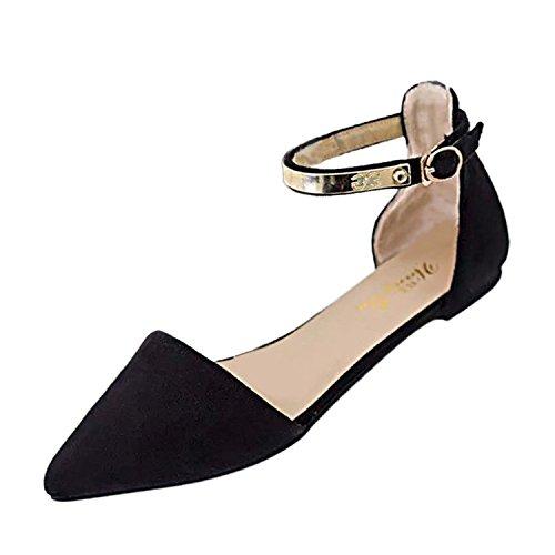 deyou Frau Scrub Pantoffel Flachen Sandalen Elegante Ballerinas Low Heels (Rot) (Rote Ferse Sandalen)