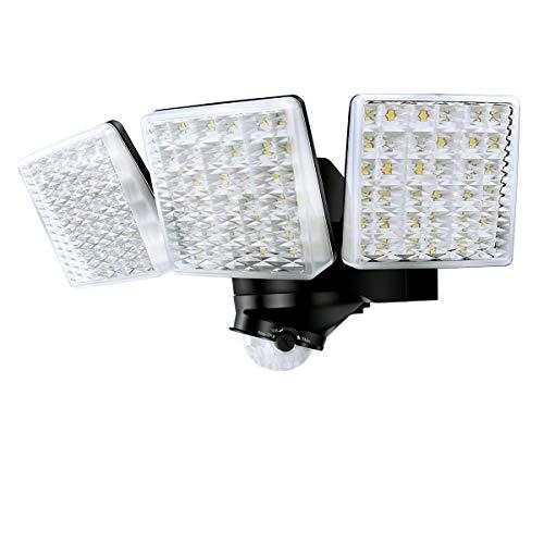 Faretto LED Con Sensore Di Movimento 30W, 3000LM Riflettore di Inondazione a 3 Teste Regolabili, 5000K, Proiettore LED Esterno Impermeabile IP65, Luce di Sicurezza a LED