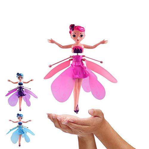 Ballett Mädchen Die Fliegende Fee Rosa Flügel Puppe Spielzeug,Tragbare Mini Flugzeuge Miniatur und handgesteuerte Einhorn Hubschrauber Puppe,für Kinder/Mädchen Geburtstagsgeschenk,Prinzessin Spielzeug