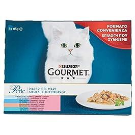 Purina Gourmet Perle Umido Gatto Piaceri del Mare con Salmone, Platessa, Tonno e Pesce dell'Oceano, 8 Buste da 85 g Ciascuna,1 Confezione da 8, 85 g