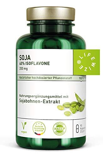 LifeWize® Soja Isoflavon Kapseln - 200mg - Echter Sojabohnen Extrakt mit 40% Isoflavone - 90 Kapseln aus Deutschland - Vegan und ohne Zusatzstoffe - Extrakt 90 Kapseln