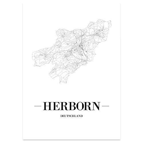 JUNIWORDS Stadtposter - Wähle Deine Stadt - Herborn - 30 x 40 cm Poster - Schrift A - Weiß