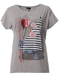d89ddb176d6f03 No Secret XXL T-Shirt Damen mit Blumen Aufdruck große Größen kurzarm Beige  Print Baumwolle