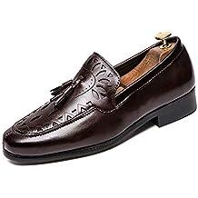 DorisAA Zapatos de Cuero para Hombre Oxford Leisure Talla Patrones Brogue con Zapatos de tacón Plano