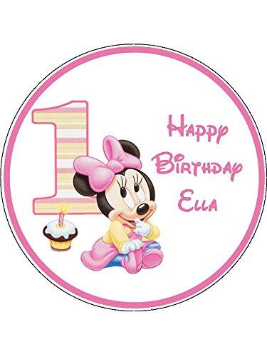(Baby Minnie Mouse 1. Geburtstag Neuheit 19,1cm rund Essbar Geburtstag Kuchen Topper)