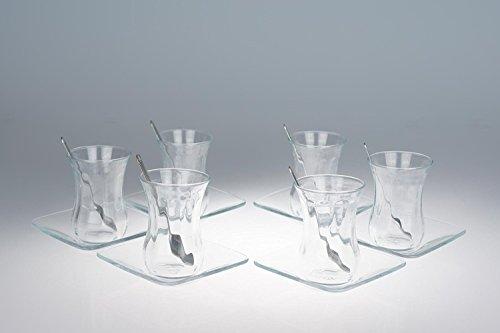 Orginal türkisches Tee Set Teeset 'Basic'/ 6 klassische Gläser/ 6 Rührlöffel (von KD)/ 6 Untersetzer