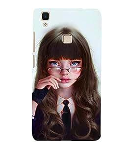 FUSON Silly Girl With Glasses 3D Hard Polycarbonate Designer Back Case Cover for Vivo V3Max