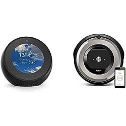 Echo Spot negro + iRobot Roomba e5154 - Robot Aspirador Óptimo Mascotas, Succión 5 Veces Superior, Cepillos de Goma Antienredos, Sensores Dirt Detect, Suelos Duros y Alfombras, Wifi, Programable App, compatible Alexa