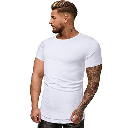 🔥 Eaylis Herren T-Shirt Tops Einfarbiges, KurzäRmeliges Rundhals-Shirt Mit Schnell Trocknendem Sport-Fitness-Shirt T-Shirt