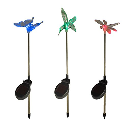 Lights4fun Lot de 3 Balises LED Solaires Libellule, Papillon & Colibri Lumineuses de Couleur Changeante