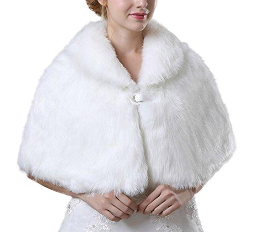 Icegrey Fausse Fourrure Des Femmes Chaud Robe Chale Cap Shrug Wrap Mariage Nuptiale Veste De Manteau D'hiver Bolero Pour Les Mariages Blanc