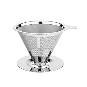 Tzuki Pour Over Coffee Brewer - Manual Drip Coffee Maker with Paperless Filter for Fresh, Rich Flavor - Coffee and Tea Ready in Minutes - Easy to Use, Dishwasher Safe - Premium Stainless Steel