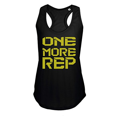 GO HEAVY Mujer Racerback Tank Top - One More Rep - Negro M