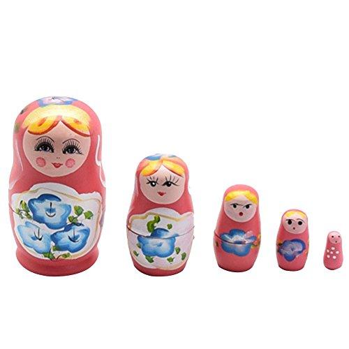 Proglam - Juego de 5 muñecas Rusas Matryoshka Cutie Nesting Madness Toys de Madera Hecha a Mano para decoración del hogar y Regalos para niños