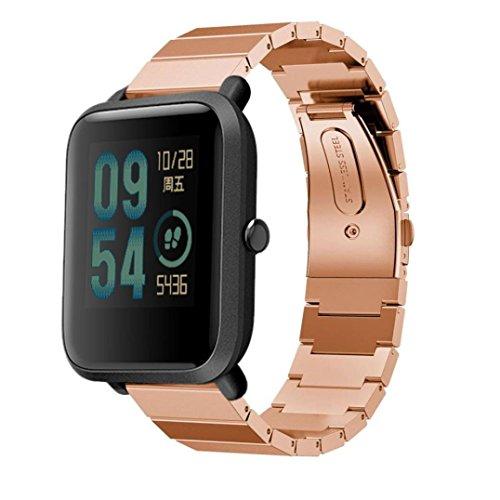 Zolimx para Xiaomi Huami Amazfit Bip Pulsera Genuina Pulsera de Acero Inoxidable Reloj Banda Correa con Herramienta de Desmontaje (Oro Rosa)