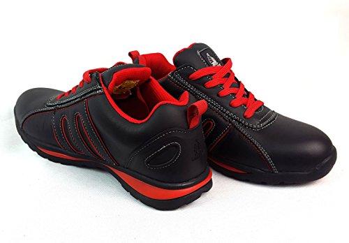 Chaussures de sécurité élégantes Starex en cuir/daim avec embout en acier, Cuir, SW-Grey/Black, 7 rouge/noir