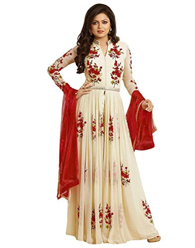 Kesu Fashion Women's Embroidered unstitched Anarkali Style Salawar Suit Material In Georgette Fabric (KesuOND1006) Cream And Red  available at amazon for Rs.649