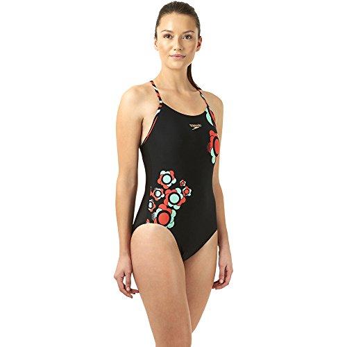 Speedo Damen Badeanzug Plmt Rlbk Af, Black/Watermel, 40, (Rosso Intero Costume)