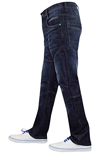 New Mens Designer Enzo Brand Denim Fashion Jeans Regular Trousers Straight Pants EZ314 Dark Wash