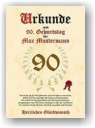 Urkunde zum 90. Geburtstag - Glückwunsch Geschenkurkunde personalisiertes Geschenk Oma Opa mit Name Gedicht und Spruch Karte Präsent Geschenkidee Mann Frau DIN A4