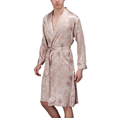 Zhhlinyuan Womens Mens Nightwear Satin Dressing Gown Robe Kimono Sleepwear Lingerie TZ013 Champagne