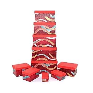 Gifts 4 All Occasions Limited SHATCHI-1293 Shatchi - Cajas de almacenamiento con tapa para decoración del hogar, regalos de Navidad, suministros para fiestas 11670, multicolor