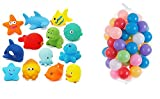 #3: Kuhu Creations® Entertaining Colorful Bath Toys. (5 Squeezing Animals, 12 Balls. 17 Units, Total, Multicolor Animals & Balls)