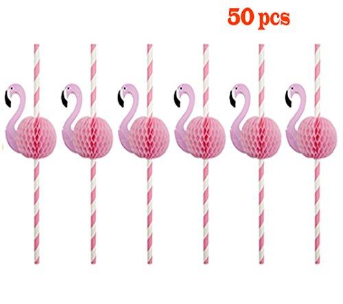 Clerfy Acc Pack de 50 Pajitas de Flamingos para Fiesta/Cumpleaños/Boda/Comunión, Papel (style1)