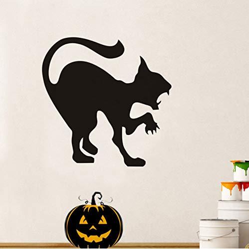 rylryl Scary Black Cat Halloween Party Aufkleber Moderne Wandaufkleber Für Kinderzimmer Wohnzimmer Wohnkultur Wasserdicht Zubehör Wallpaper59x59cm
