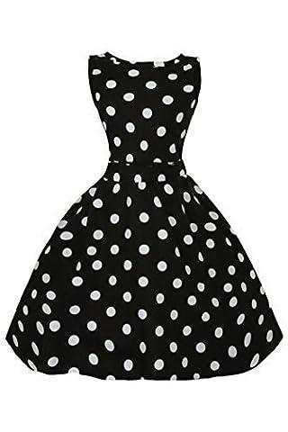 Mädchen Kinder Retro Vintage Inspiriert Rockabilly Audery Swing Gepunktetes Kleid - Schwarz, 122-128