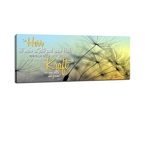 Dalinda® XXL-Wandbild Bibelspruch Bibel Leinwand Leinwandbild mit Spruch Der Herr ist mein Licht... 100x40cm Keilrahmenbild Kunstdruck Wandbild Panorama Leinwandbild LS129