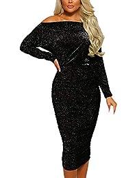 64c9f8477d53 URSING Damen Kleid Frauen Sparkly Lange Ärmel Aus der Schulter Elegant  Abendkleid Party Kleid Clubkleid Gerüscht Figurbetontes Kleid Vintage…