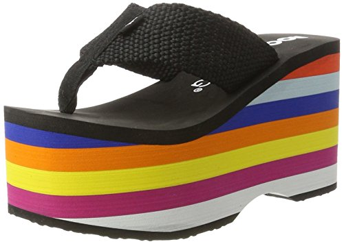 Rocket Dog Damen Big Top Zehentrenner Schwarz (Rainbow Black)