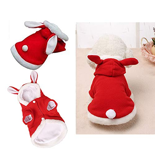 Qiao Niuniu Ostern Bunny Hund Kostüm Puppy Hoodies Kleidung für Kleine Hunde Katzen, Small, Rot (Hund Pikachu-kostüm)