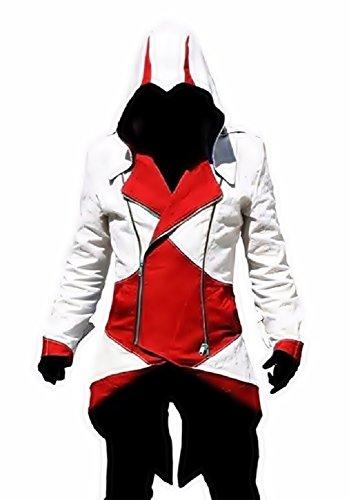 te Jacke Cosplay Assassin's Creed (weiß und rot Größe Xxl) (Kleid Jacke Männer)